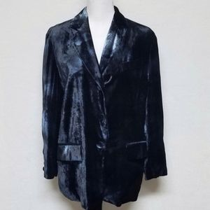 Vtg Moschino Coutore Blue Velvet Smoking Jacket 6